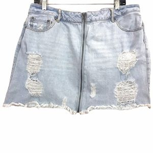 Forever 21+ Distress Destroy Frayed Hem Jean Skirt
